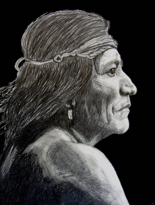 Pencil Poster featuring the drawing Unknown Indian VI by Stan Hamilton