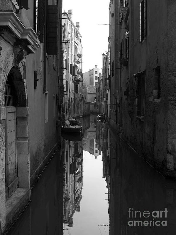 Bw Poster featuring the photograph Venice Canal by Toula Mavridou-Messer