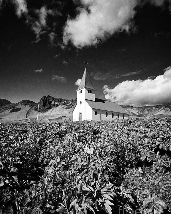 Vik Poster featuring the photograph vik church Vik i Myrdal Iceland by Joe Fox
