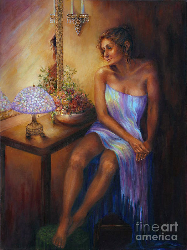 Beautiful Woman Poster featuring the painting Waiting by Myra Goldick