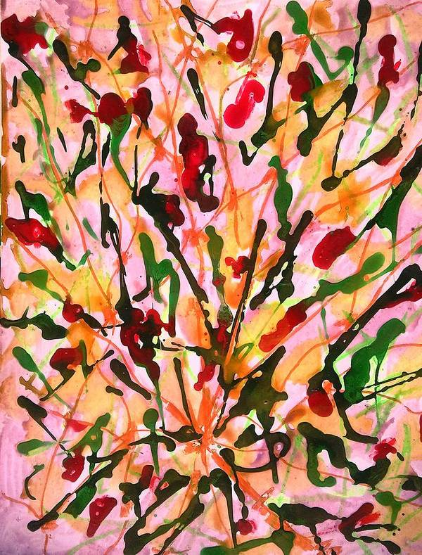 Abstract Poster featuring the painting Divine Flowers by Baljit Chadha