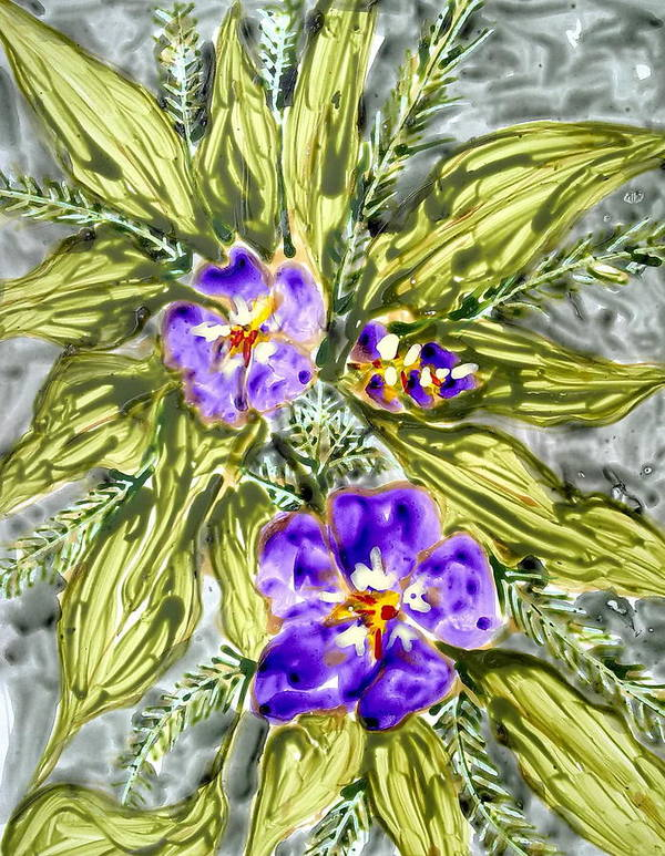 Abstract Flowers Poster featuring the painting Divine Flowers by Baljit Chadha