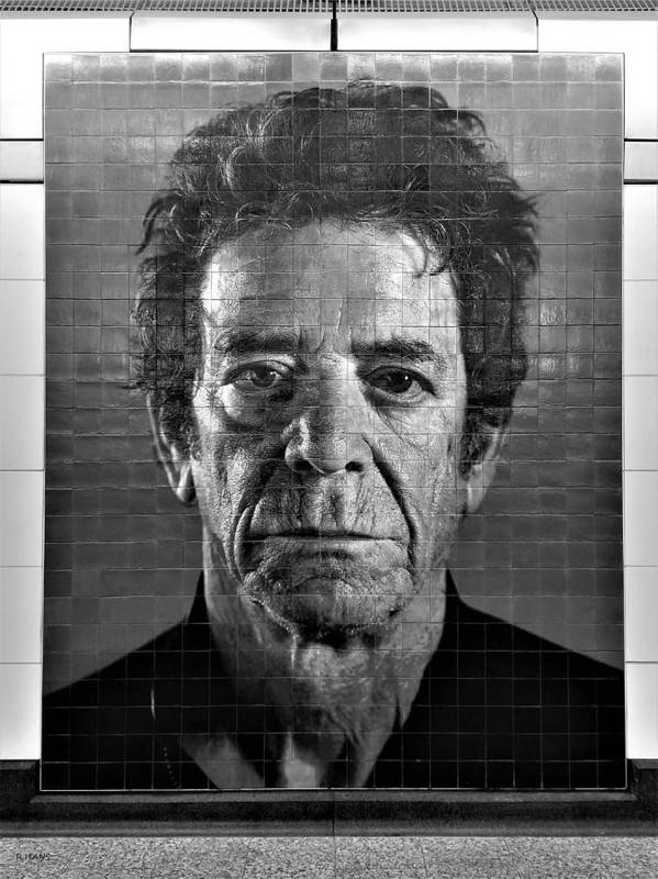 Art Poster featuring the photograph 2nd Ave Subway Art Lou Reed B W by Rob Hans