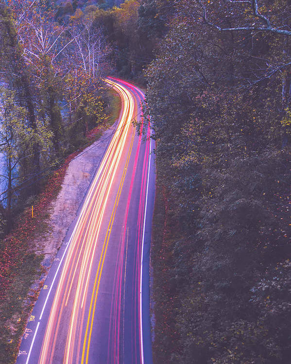 View Poster featuring the photograph Automobile Traffic Long Exposure At Dusk In Pisgah National Park by Alex Grichenko