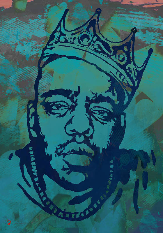 Biggie Smalls Colour Drawing Art Poster - Pop Art Poster featuring the drawing Biggie smalls Modern etching art poster by Kim Wang