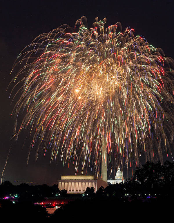 4th July Poster featuring the photograph Fireworks Over Washington Dc On July 4th by Steve Heap