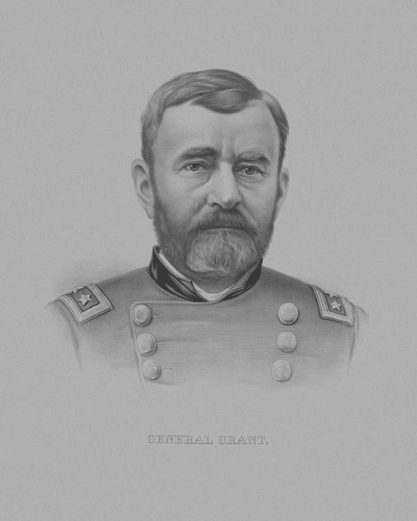 General Grant Poster featuring the drawing General Grant by War Is Hell Store