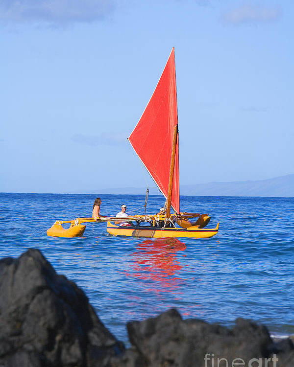 Aku Poster featuring the photograph Maui Sailing Canoe by Ron Dahlquist - Printscapes