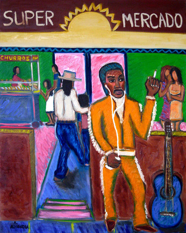 Music Poster featuring the painting Modern Mariachi by Albert Almondia