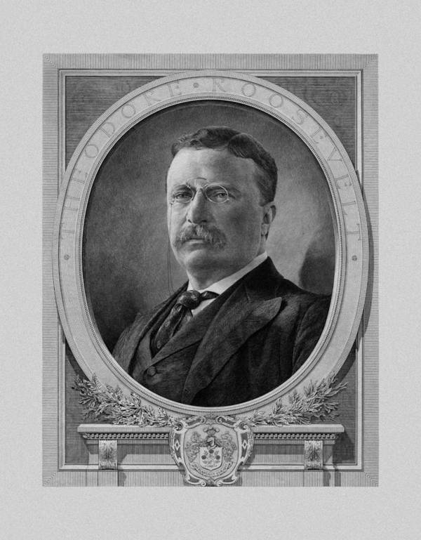 Teddy Roosevelt Poster featuring the mixed media President Theodore Roosevelt by War Is Hell Store