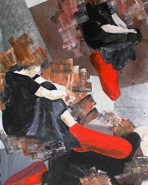 Poster featuring the painting 3 Siluets In Red Socks by Evguenia Men