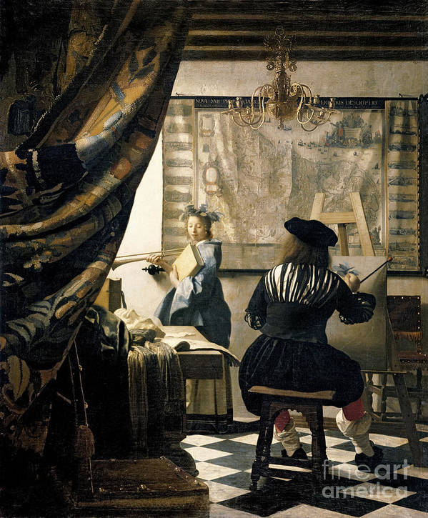 Vermeer Poster featuring the painting The Artist's Studio by Jan Vermeer