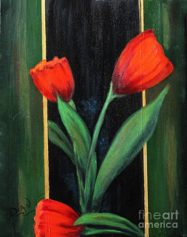 Tulips Poster featuring the painting 3 Tulips by Dian Paura-Chellis