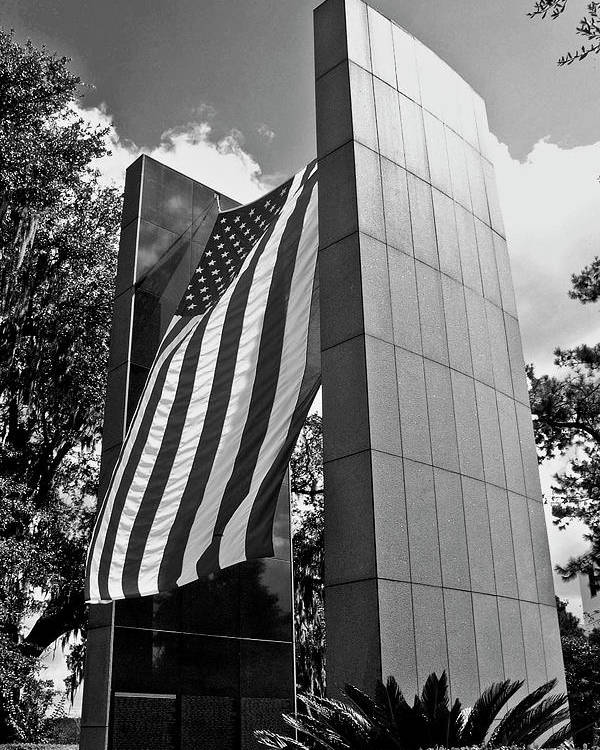 Black And White Photography Poster featuring the photograph Viet Nam Veteran's Memorial by Wayne Denmark
