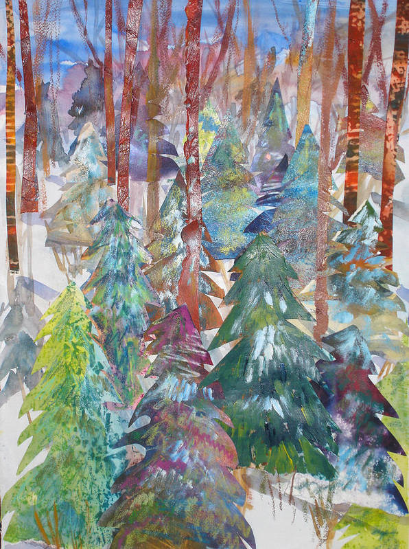 Landscape Poster featuring the mixed media Winter Collage by Joyce Kanyuk