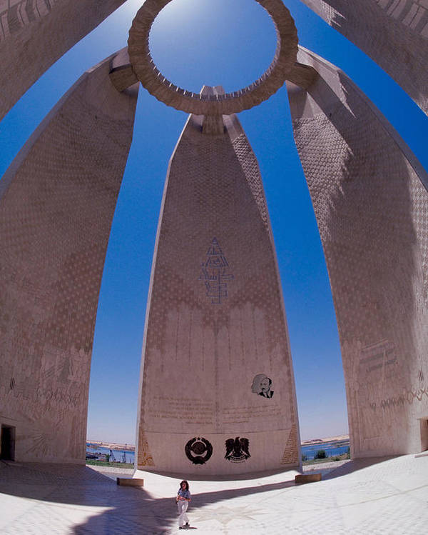 Large Poster featuring the photograph Aswan Dam Memorial by Carl Purcell