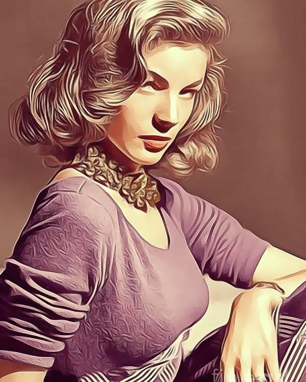 Lauren Poster featuring the digital art Lauren Bacall, Vintage Actress by John Springfield