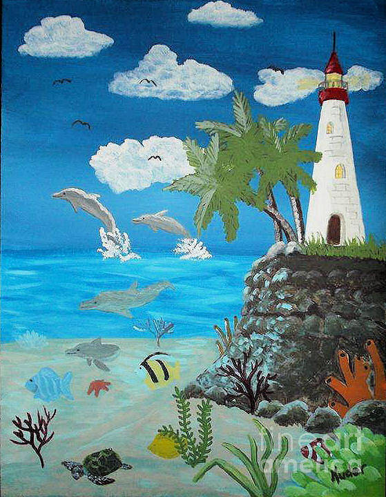 Seascape Poster featuring the drawing Lighthouse by Sherri Gill