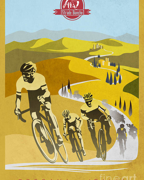 Vintage Cycling Poster featuring the painting Print by Sassan Filsoof