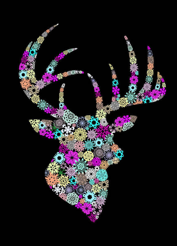 Animal Poster featuring the painting Reindeer Design By Snowflakes by Setsiri Silapasuwanchai