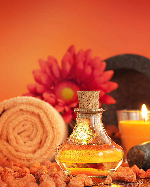 Aroma Poster featuring the photograph Spa Setting by Mythja Photography