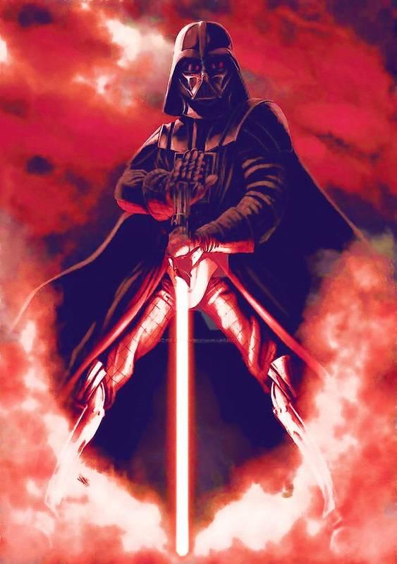 Star Wars Helmet Poster featuring the digital art Star Wars On Art by Larry Jones