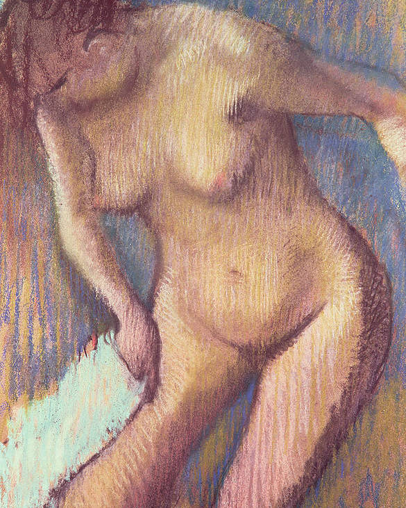 Impressionist; Nude; Female; Towel; Femme;essuyant; Essuyer; Toilette Poster featuring the pastel Woman Drying Herself by Edgar Degas