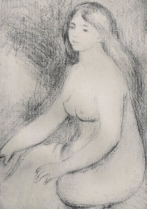 Renoir Poster featuring the drawing Seated Bather by Pierre Auguste Renoir