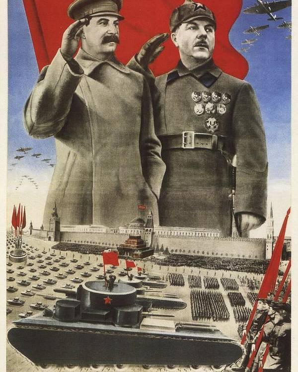Stalin Poster Featuring The Mixed Media Soviet Propaganda By Art