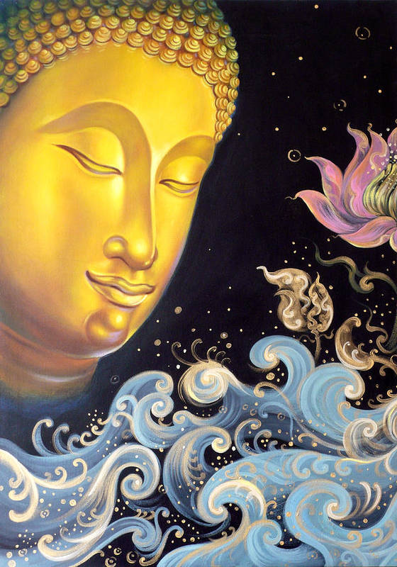 Acrylic Poster featuring the painting The Light Of Buddhism by Chonkhet Phanwichien