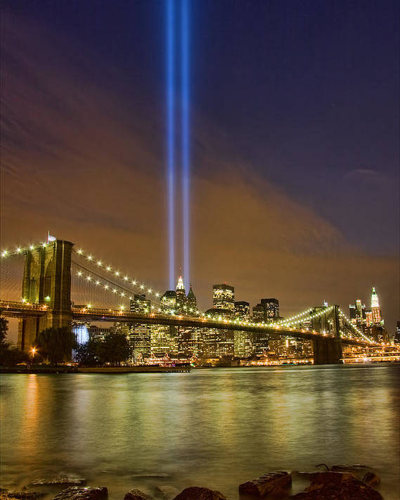 911 Poster featuring the photograph Twin Towers Of Light by June Marie Sobrito