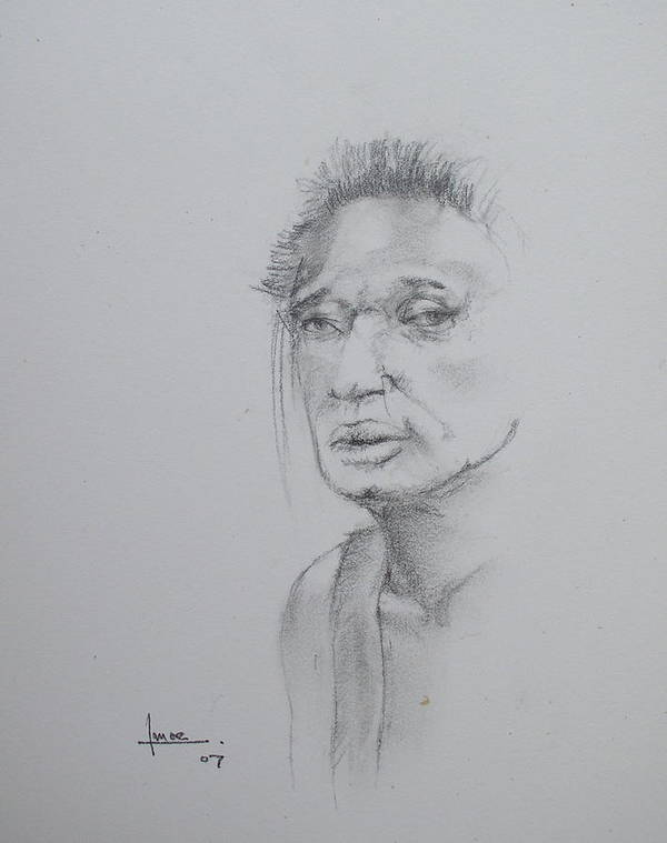 Portrait Poster featuring the drawing Untitled by Victor Amor