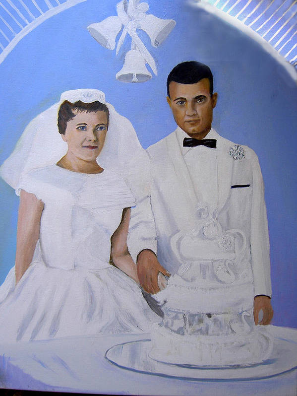 Wddding Portrait Poster featuring the painting 50th Wedding by George Markiewicz