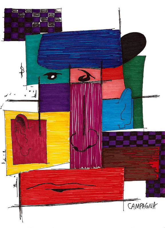 Marker Poster featuring the drawing Untitled by Teddy Campagna