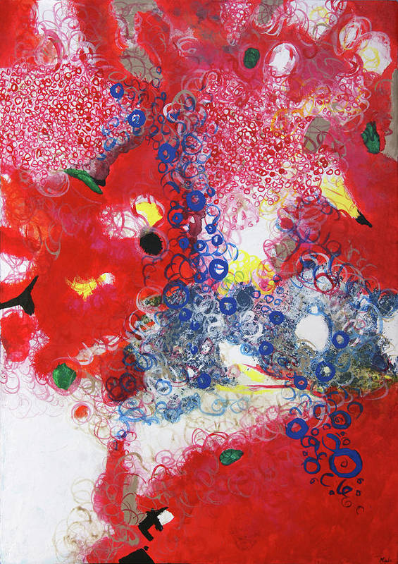 Painting Mixed Media Poster featuring the painting 56 by Maria Klimek