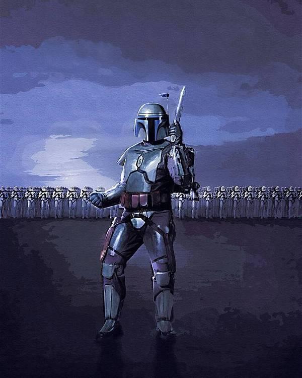 Star Wars Helmet Poster featuring the digital art 2 Star Wars Art by Larry Jones