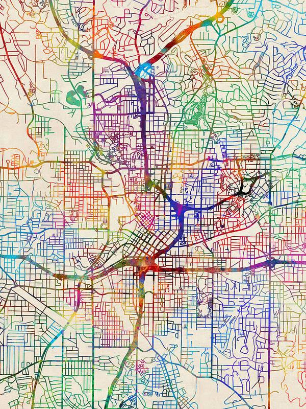 City Map Of Atlanta Georgia.Atlanta Georgia City Map Poster By Michael Tompsett