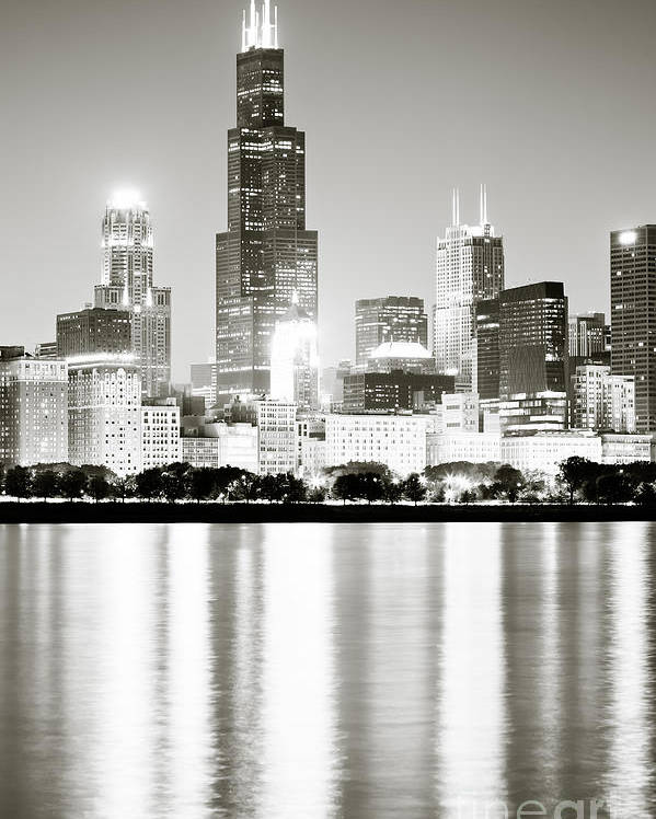 America Poster featuring the photograph Chicago Skyline At Night by Paul Velgos