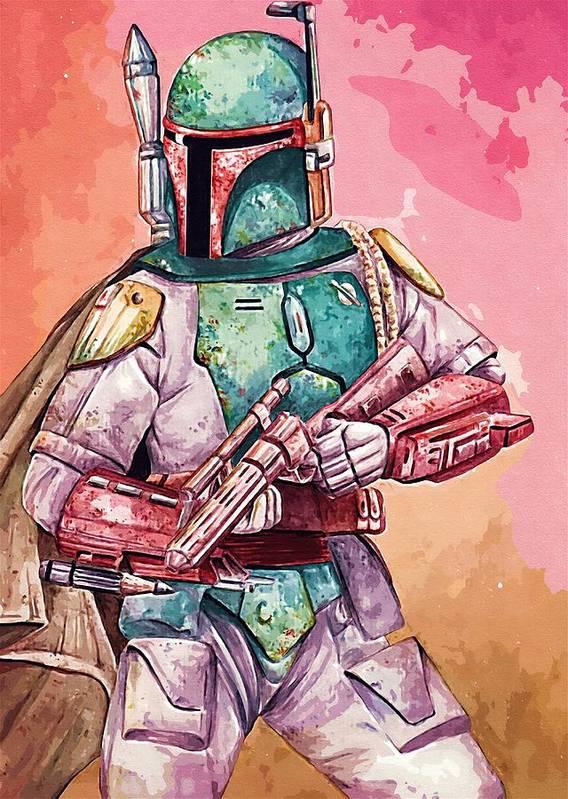 Star Wars Helmet Poster featuring the digital art Empire Star Wars Poster by Larry Jones