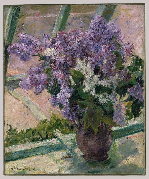 Lilacs In A Window (vase De Lilas A La Fenetre) Poster featuring the painting Lilacs In A Window by Mary Cassatt