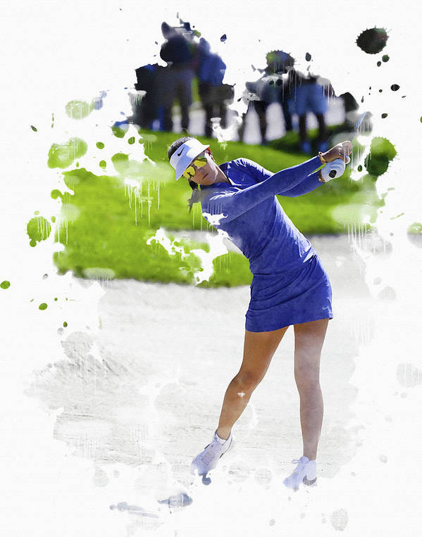 Home Poster featuring the digital art Michelle Wie by Don Kuing