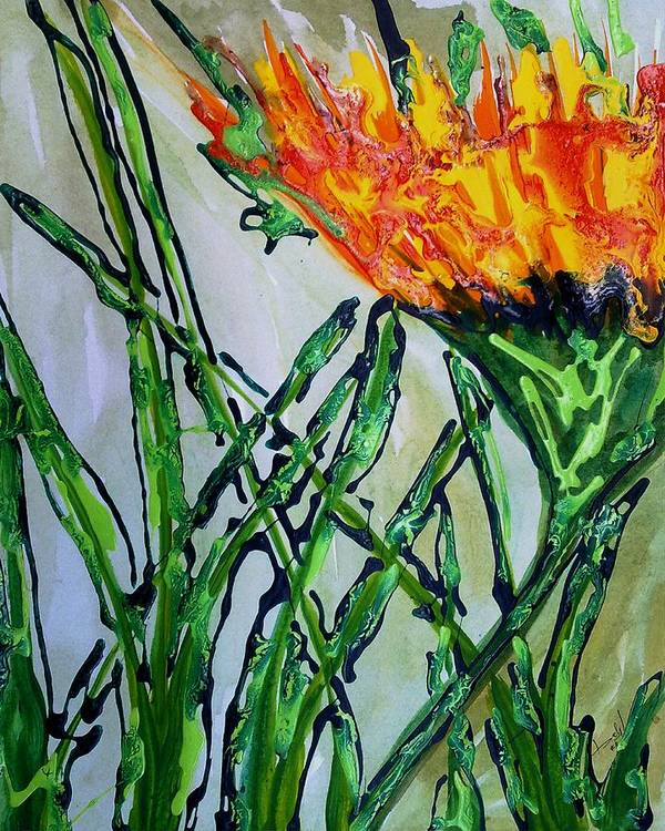 Flowers Poster featuring the painting Divine Flowers by Baljit Chadha