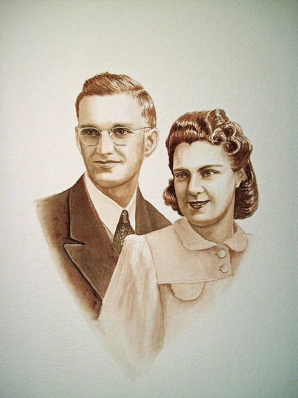 Anniversary Poster featuring the painting 70 Years Together by Irina Sztukowski