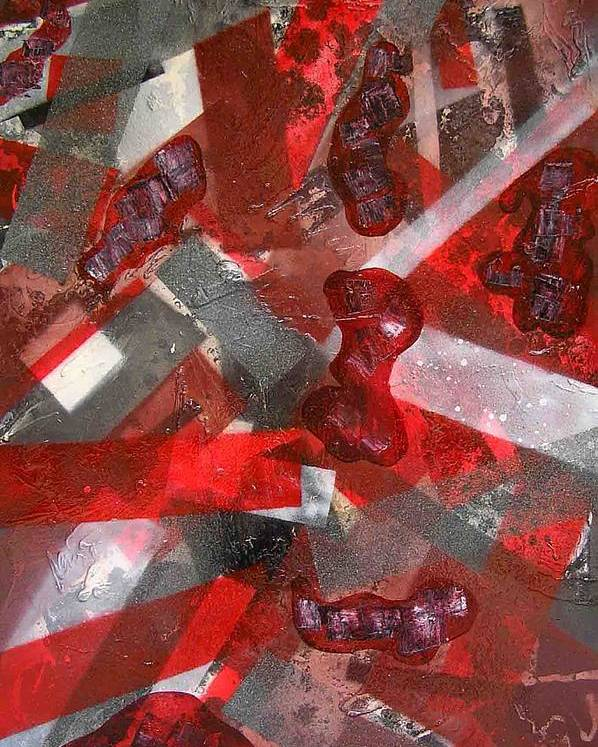 Abstract Poster featuring the painting 8 Red Objects by Evguenia Men