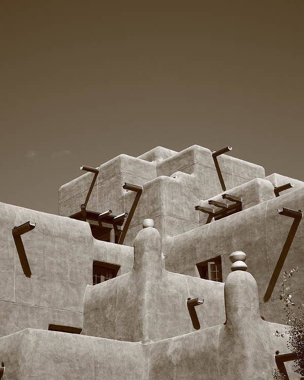 66 Poster featuring the photograph Santa Fe - Adobe Building by Frank Romeo