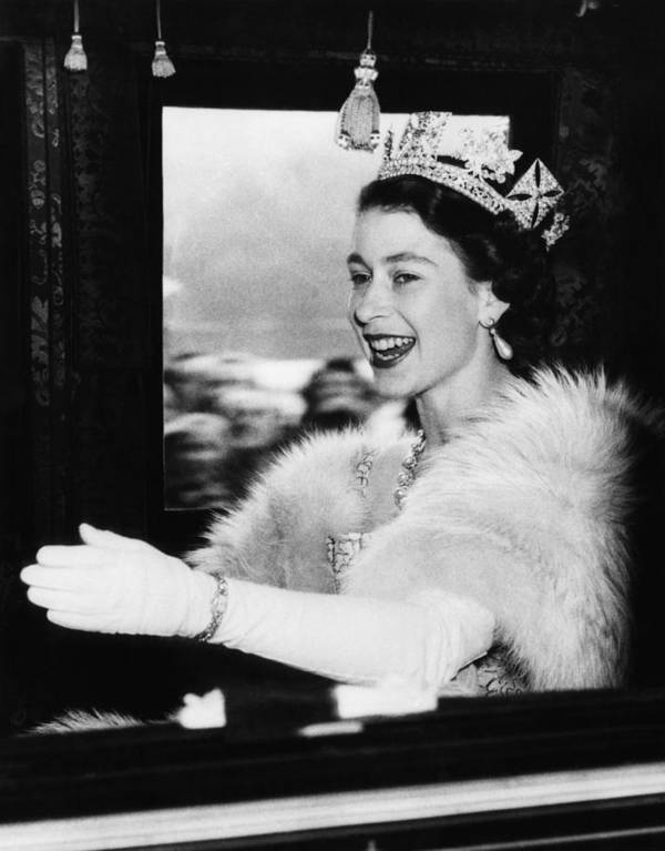 1950s Poster featuring the photograph British Royalty. Queen Elizabeth II by Everett