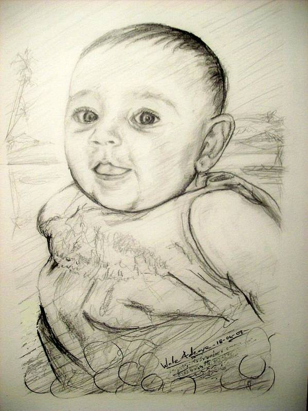 Pencil Poster featuring the drawing A Baby Smile by Wale Adeoye
