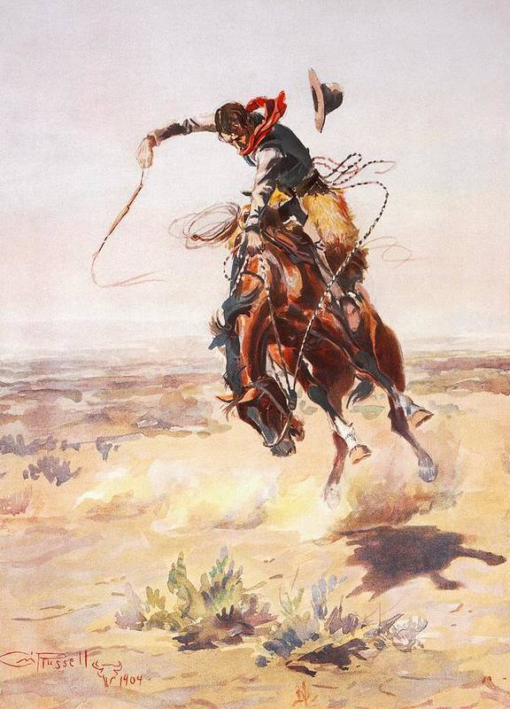 Charles Russell Poster featuring the digital art A Bad Hoss by Charles Russell