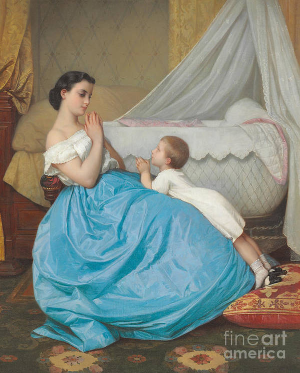 Bedtime Poster featuring the painting A Bedtime Prayer by Auguste Toulmouche