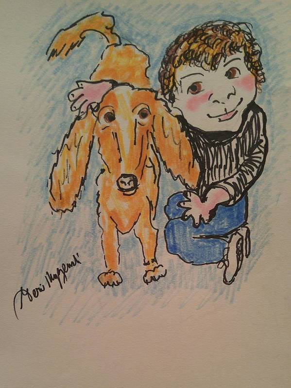 Kids Poster featuring the painting A Boy And His Dog by Geraldine Myszenski